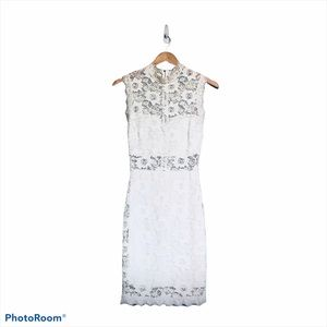 WINDSOR ILLUSION LACE MINI DRESS OFF WHITE SMALL